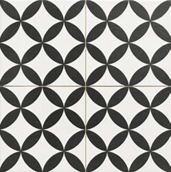 Circle Black 45x45, retro obklad a dlažba-!!! Nyní akční cena  499,- Kč/m2 !!!   Matná mrazuvzdorná retro dlažba a obklad série Victorian style & Patchwork, formát 45x45